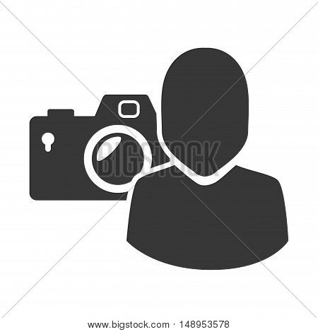 photographic camera device with avatar male user icon silhouette. vector illustration