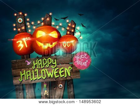 Happy Halloween sign poster decorated with pumpkins and fairy lights! Illustration.
