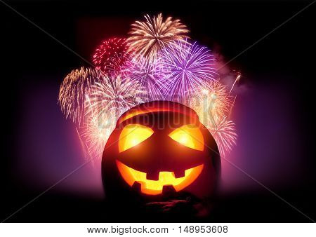 Halloween Fireworks Party. Glowing Jack O' Lantern pumpkin with a fireworks display event.