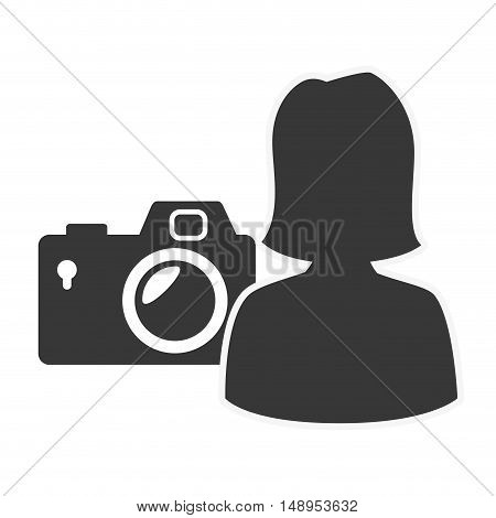 photographic camera device with avatar female user icon silhouette. vector illustration