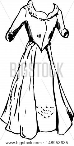 Outlined Dress With Open Robe Skirt