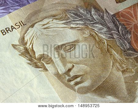 Close-up of brazilian currency notes detail symbol account