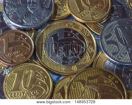 Brazilian coins close up finance business banking