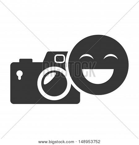 photographic camera device with happy emoticon face icon silhouette. vector illustration