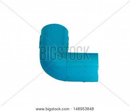Blue pvc plumbing fittings on white background