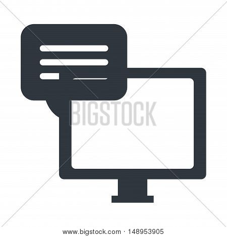screen monitor computer technology device with speech bubble icon. vector illustration