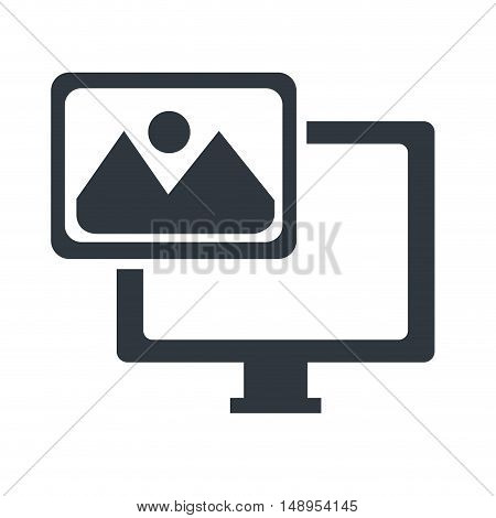screen monitor computer technology device with picture icon. vector illustration