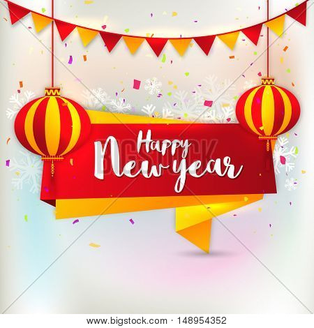 Creative Tag design with hanging Chinese Lanterns on snowflakes and buntings decorated background for Happy New Year celebration.