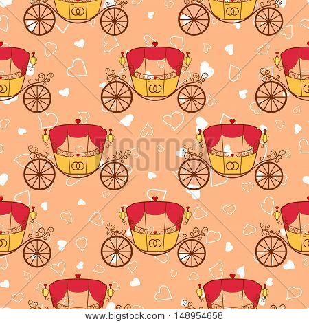 Vector pink wedding retro carriage with curls seamless pattern. Element for your wedding designs valentines day projects and other your romantic projects.