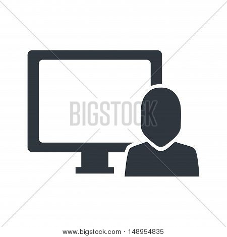 screen monitor computer technology device with avatar user person. vector illustration