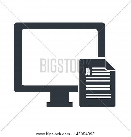 screen monitor computer technology device with document paper page icon. vector illustration
