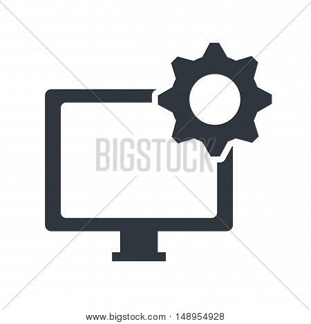 screen monitor computer technology device with gear icon. vector illustration