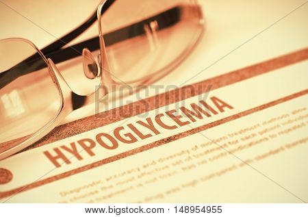 Hypoglycemia - Medicine Concept with Blurred Text and Specs on Red Background. Selective Focus. 3D Rendering.
