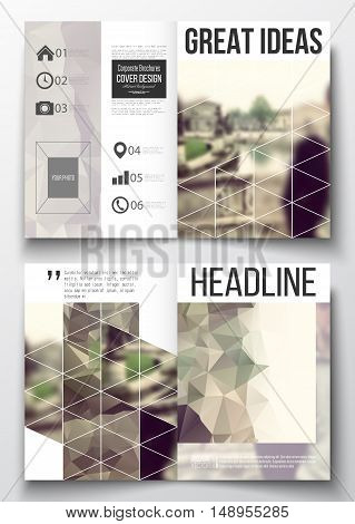 Set of business templates for brochure, magazine, flyer, booklet or annual report. Polygonal background, blurred image. Modern triangular vector texture.