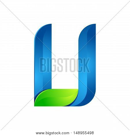 U letter leaves eco logo volume icon. Vector design green and blue template elements an icon for your ecology application or company.