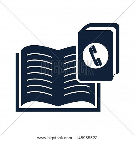 open book education object with directory notebook icon silhouette. vector illustration