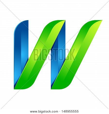 W letter leaves eco logo volume icon. Vector design green and blue template elements an icon for your ecology application or company.