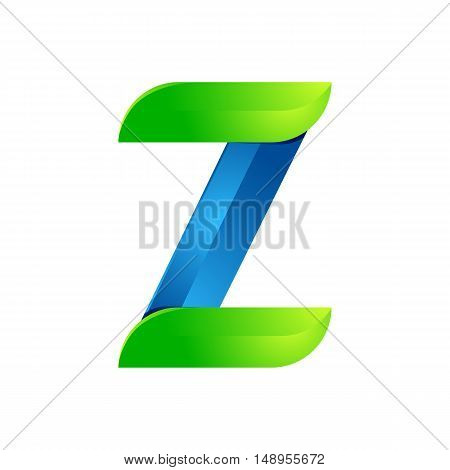 Z letter leaves eco logo volume icon. Vector design green and blue template elements an icon for your ecology application or company