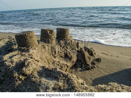 Castle made of sand in bad shape