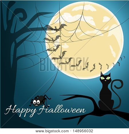 Happy Halloween celebration background with silhouette of scary cat, creepy castle and dead tree.