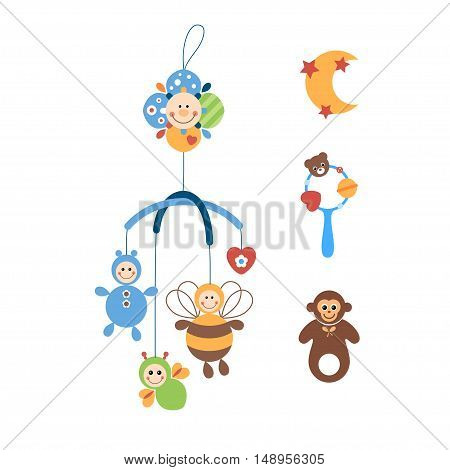 Colored toys for the kids on a white background. Vector illustration