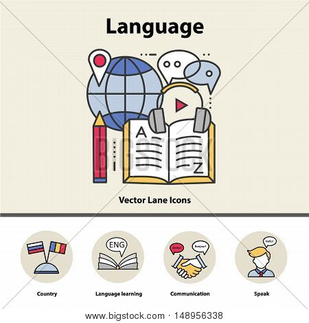 Modern thin line icons of learning foreign languages, language training school. Logo concepts for trendy designs.