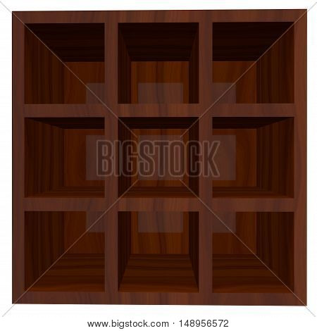 Empty wooden bookcase isolated on white background. 3D rendering illustration.