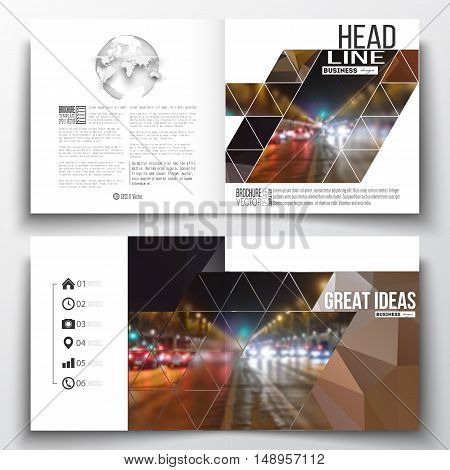 Set of annual report business templates for brochure, magazine, flyer or booklet. Dark polygonal background, blurred image, night city landscape, car traffic, modern triangular texture.