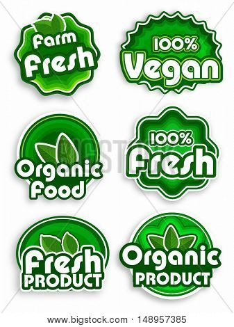 Set of Green Stickers, Tags or Labels design of Farm Fresh, 100% Vegan and Fresh Organic Products or Foods, Creative lettering design for Healthy Food concept.