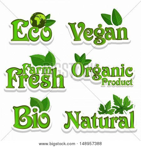 Set of Eco, Organic, Vegan, Bio, Farm Fresh and Natural Products or Foods Labels, Creative lettering design for Healthy Food concept, Green Stickers, Badges and Tags collection.