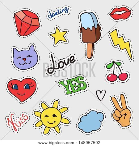 Patch badges set. Stickers, pins, patches with stars, sun, lips, cat, ice-cream and handwritten notes collection in cartoon style. Vector illustration isolated