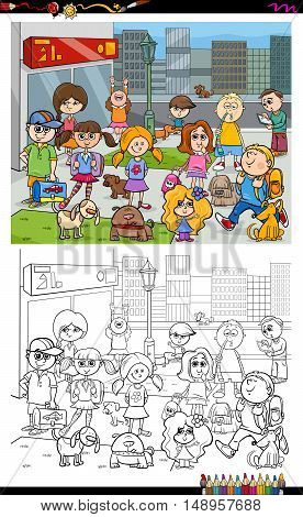 Kids And City Coloring Book