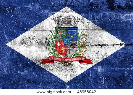 Flag Of Joinville, Santa Catarina State, Brazil, Painted On Dirty Wall