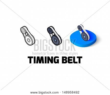 Timing belt icon, vector symbol in flat, outline and isometric style