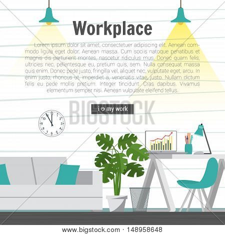 Collection stylish colors business work flow items elements things equipment objects. Flat modern design concept of creative office room interior workspace workplace. Vector illustration.