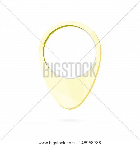 Yellow map point symbol place marker with shadow. Vector Illustration.