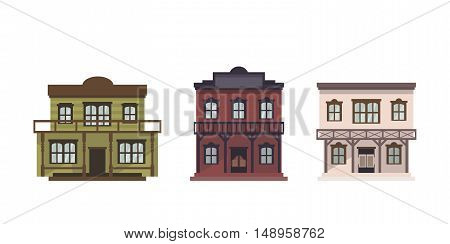 Western style isolated wild west buildings. Set of 3 western houses