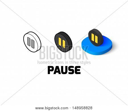 Pause icon, vector symbol in flat, outline and isometric style
