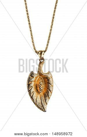 Golden pendant on a chain isolated over white