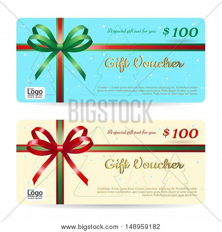 Christmas gift card or gift voucher template with shiny red and green bows and ribbons vector