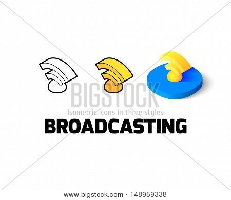 Broadcasting icon, vector symbol in flat, outline and isometric style