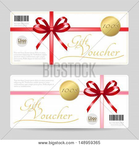 Gift card or gift voucher template with shiny red bows and ribbons vector