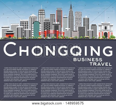 Chongqing Skyline with Gray Buildings, Blue Sky and Copy Space. Vector Illustration. Business Travel and Tourism Concept with Modern Buildings. Image for Presentation Banner Placard and Web.