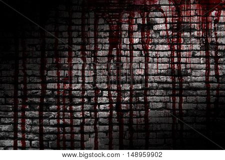 bloody brick wall in the dark for horror content and halloween festival. 3d illustration.
