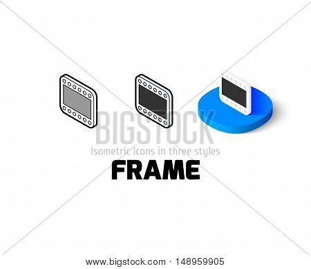 Frame icon, vector symbol in flat, outline and isometric style