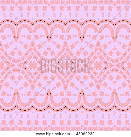 Abstract geometric seamless vintage background. Regular floral ornament pink on mauve, ornate and dreamy.