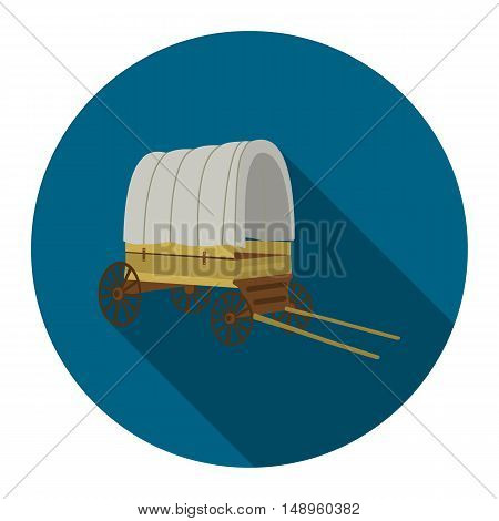 Cowboy wagon icon flat. Singe western icon from the wild west flat.