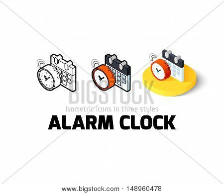Alarm clock icon, vector symbol in flat, outline and isometric style