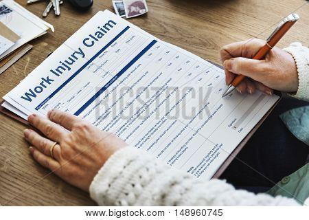 Work Injury Claim Insurance Concept