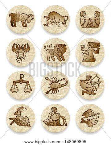 Set of icons with zodiac contour symbols on crumpled paper circles. Contains the Clipping Path
